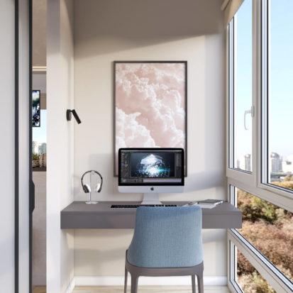 Дизайн 4х комнатной квартиры Киев кабинет