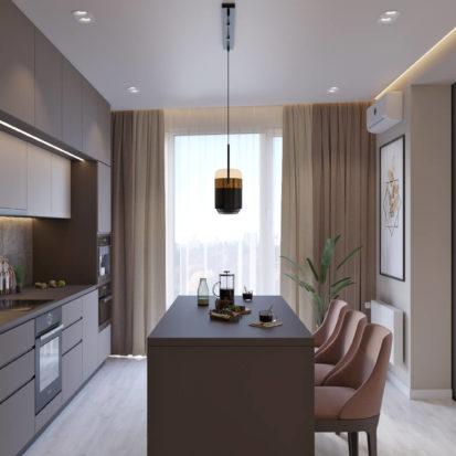 Дизайн 4х комнатной квартиры Киев кухня-студия
