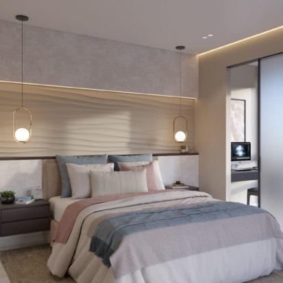 Дизайн 4х комнатной квартиры Киев спальня с балконом