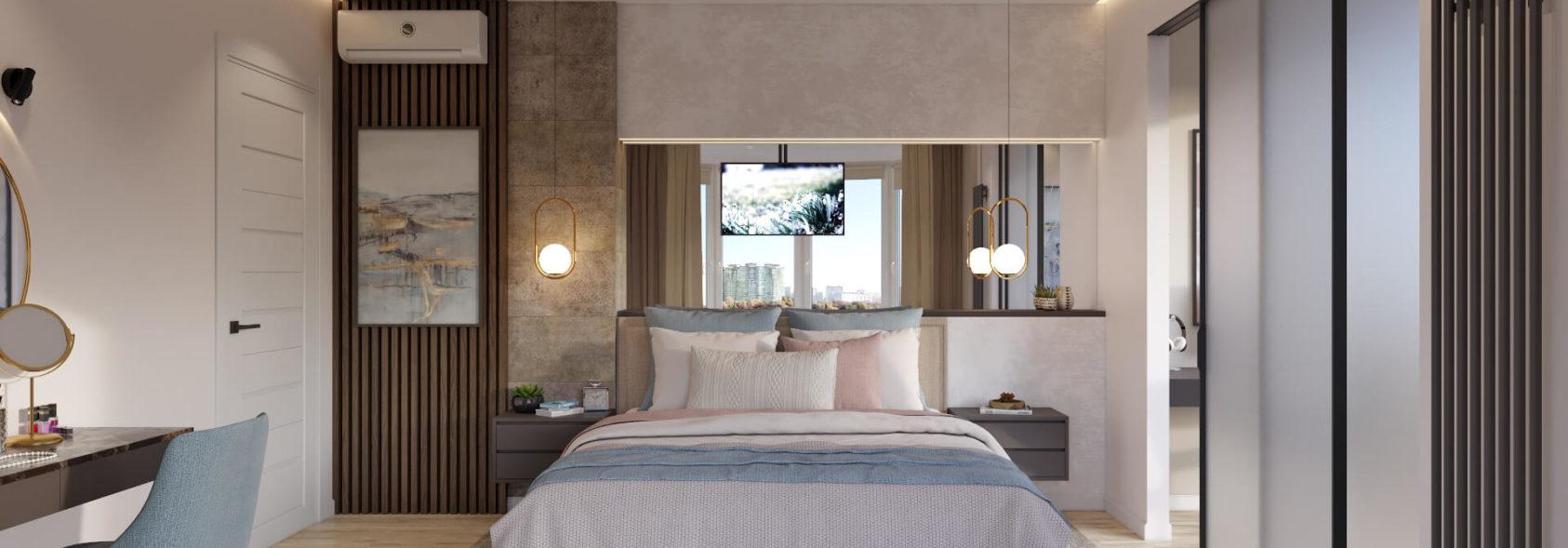 Дизайн 4х комнатной квартиры Киев спальня