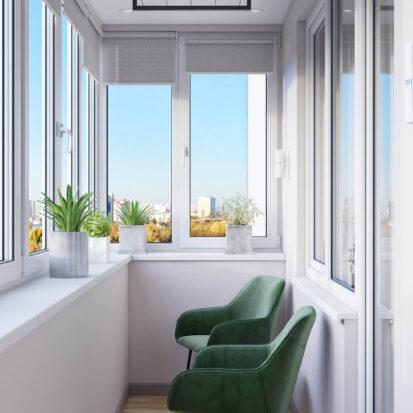 Балкон дизайн трехкомнатной квартиры Днепр