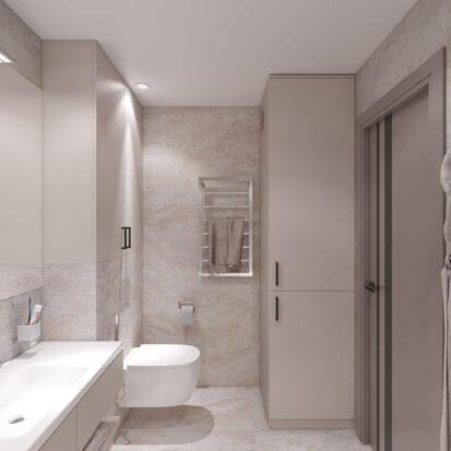Ванная дизайн трехкомнатной квартиры Днепр