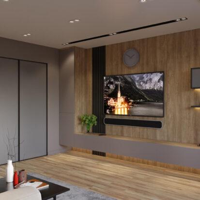Гостиная дизайн трехкомнатной квартиры Днепр