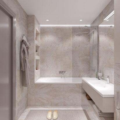 Дизайн ванной в трехкомнатной квартире Днепр