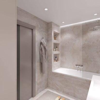 Дизайн ванной комнаты в 3х комнатной квартире Днепр