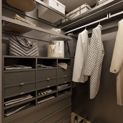 Дизайн гардеробной в трехкомнатной квартире Днепр