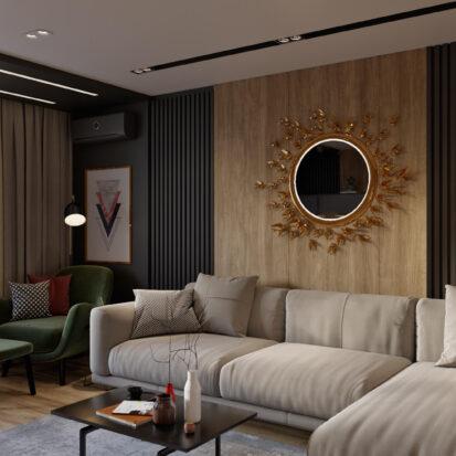 Дизайн гостиной в трехкомнатной квартире Днепр
