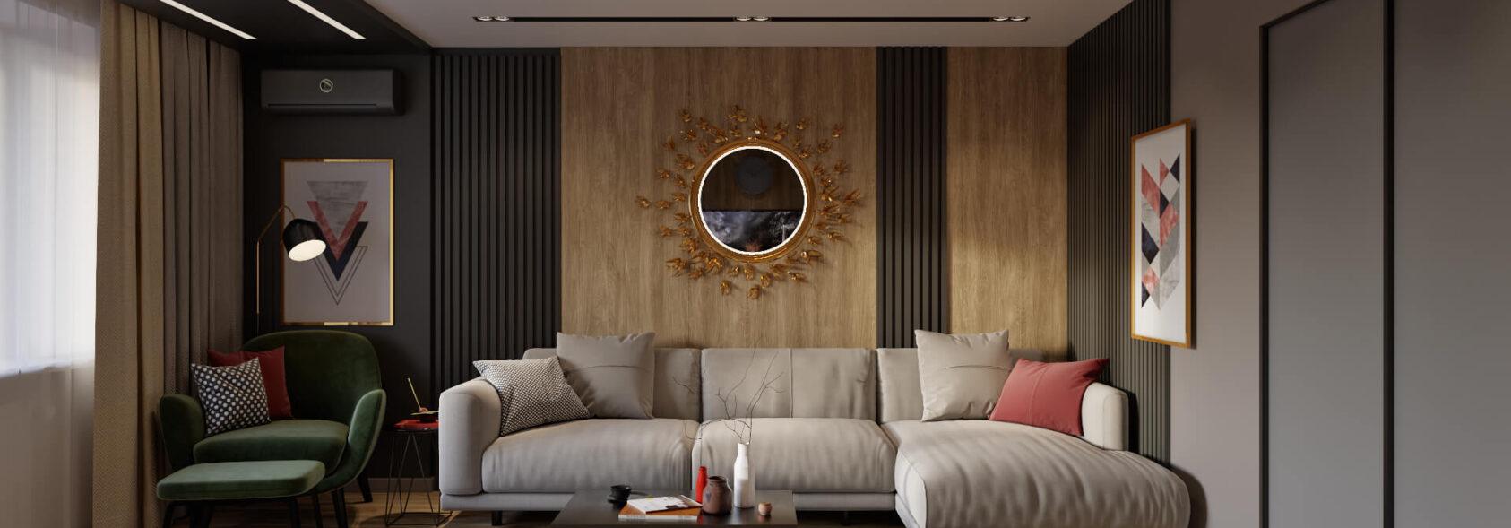 Дизайн гостиной в 3х комнатной квартире Днепр