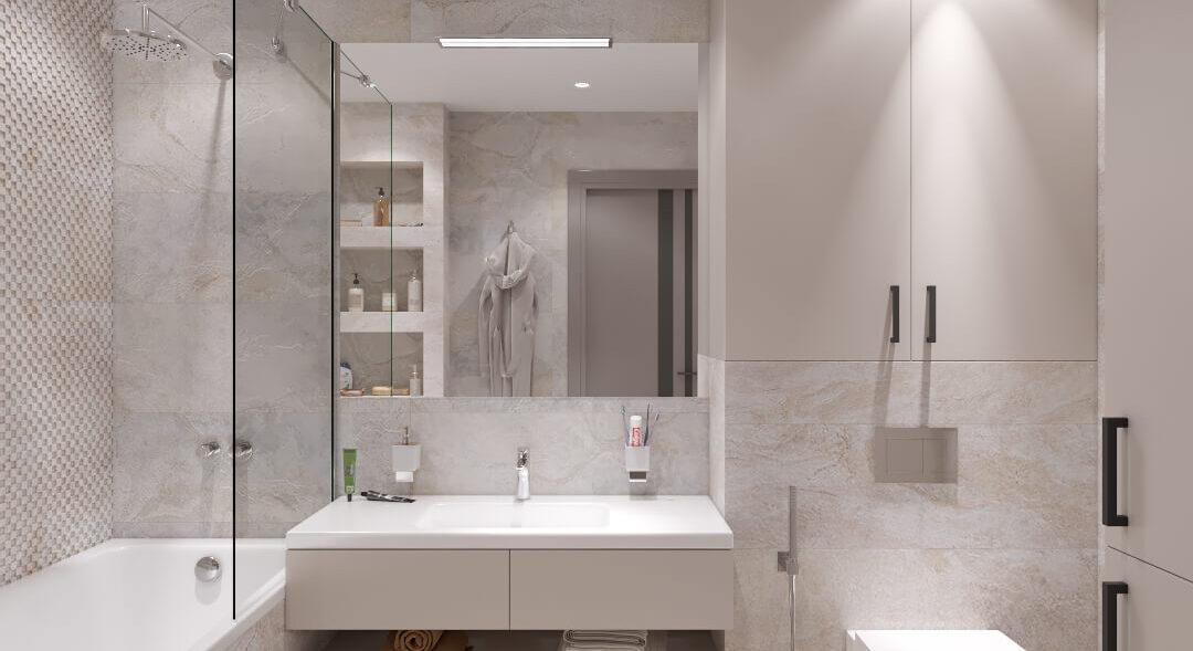 Дизайн интерьера ванной в 3х комнатной квартире Днепр