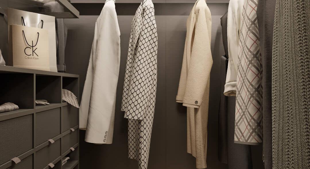 Дизайн интерьера гардеробной трехкомнатная квартира Днепр