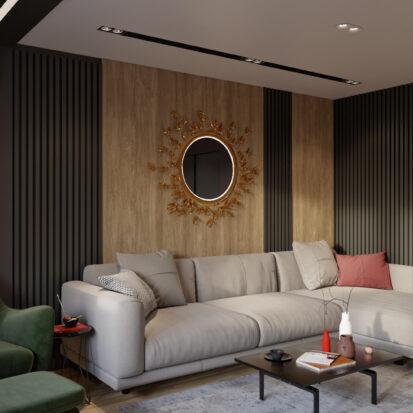 Дизайн интерьера гостиной трехкомнатная квартира Днепр