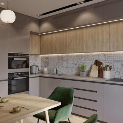 Дизайн интерьера кухни в 3х комнатной квартире Днепр
