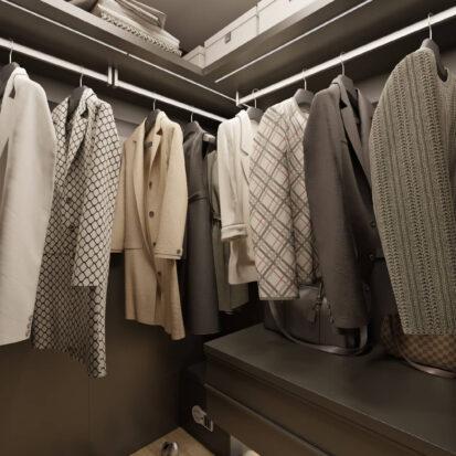 Дизайн интрьера гардеробной комнаты в 3х комнатной квартире Днепр