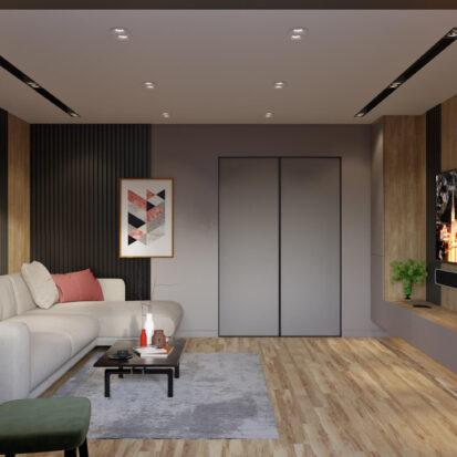 Дизайн интерьера гостиной в 3х комнатной квартире Днепр