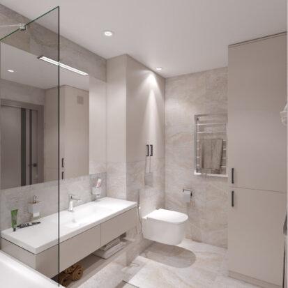Дизайн трехкомнатной квартиры Днепр ванная комната