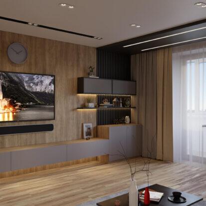Дизайн трехкомнатной квартиры Днепр гостиная