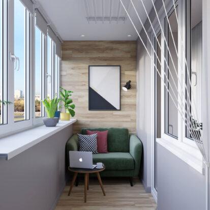 Дизайн трехкомнатной квартиры Днепр лоджия