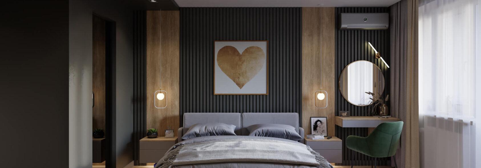 Дизайн трехкомнатной квартиры Днепр спальня