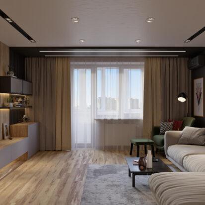Дизайн 3х комнатной квартиры Днепр гостиная