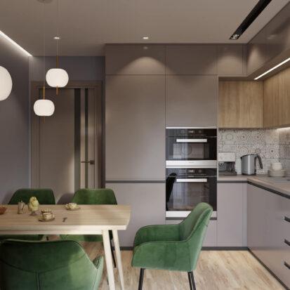 Интерьер кухни трехкомнатная квартира Днепр