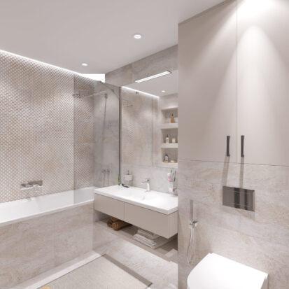 Интрьер ванной комнаты трехкомнатная квартира Днепр