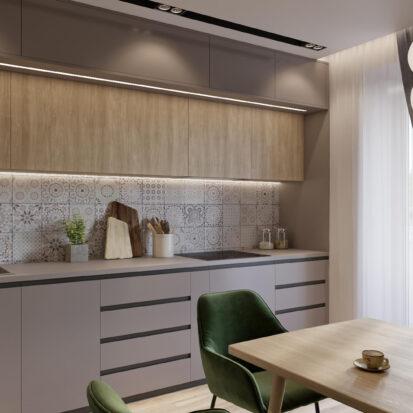 Кухня дизайн трехкомнатной квартиры Днепр