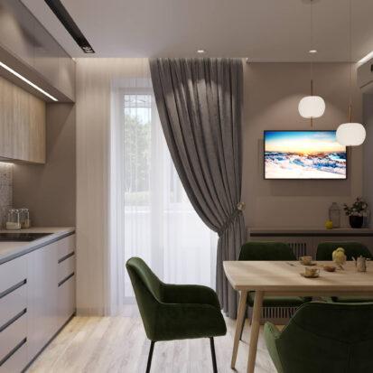 Кухня дизайн 3х комнатной квартиры Днепр