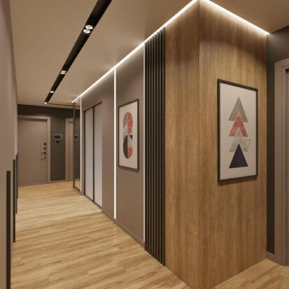Прихожая дизайн трехкомнатной квартиры Днепр