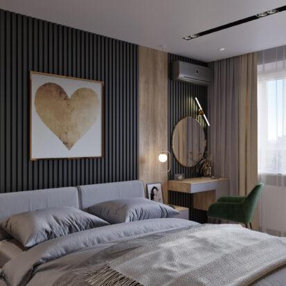 Спальня дизайн трехкомнатной квартиры Днепр