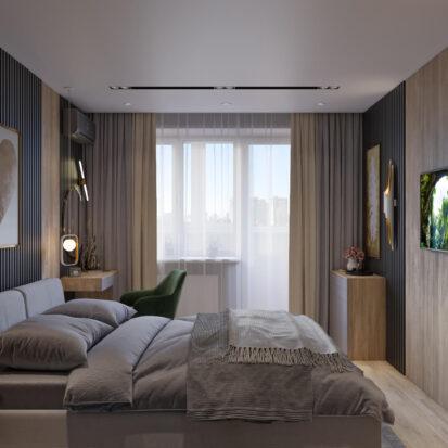 Спальня дизайн 3х комнатной квартиры Днепр
