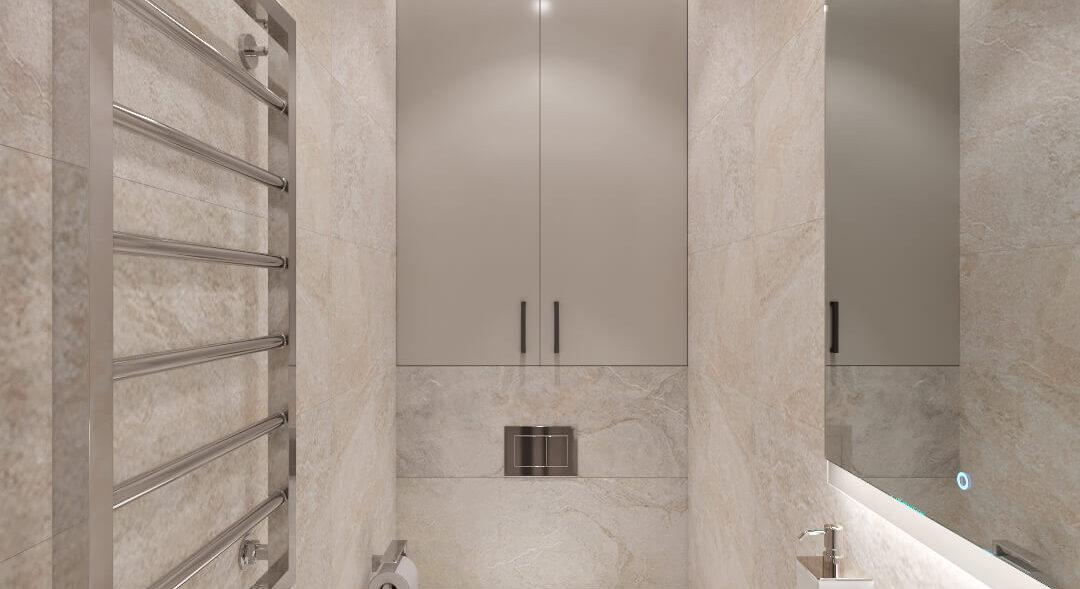 Туалет дизайн трехкомнатной квартиры Днепр