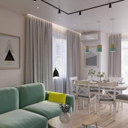 Гостиная кухня дизайн дома Киев
