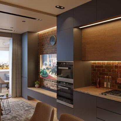 Современный дизайн квартиры Запорожье гостиная