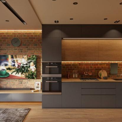 Современный дизайн квартиры запорожье кухня гостиная