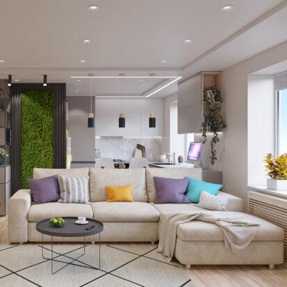 дизайн и ремонт трехкомнатной квартиры