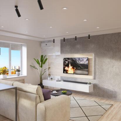 дизайн и ремонт трехкомнатной квартиры гостиная