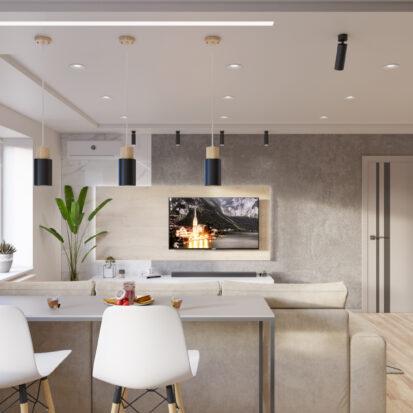 дизайн и ремонт трехкомнатной - гостиная