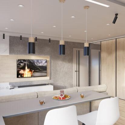 дизайн проект трехкомнатной - гостиная