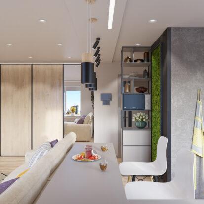 дизайн проект трехкомнатной - гостиная Запорожье