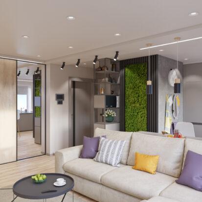 дизайн проект трехкомнатной квартиры - гостиная Запорожье