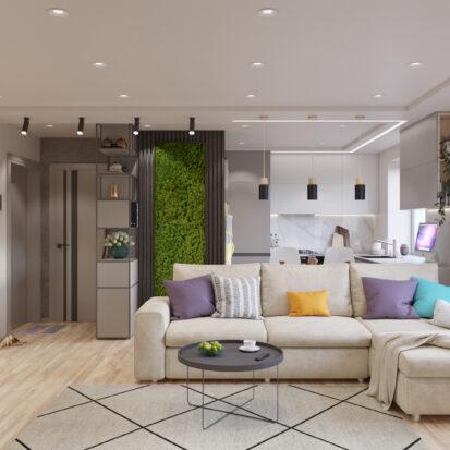 дизайн проект трехкомнатной квартиры - гостиная