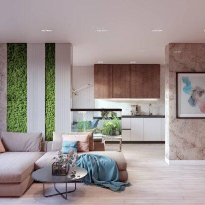 Дизайн двухэтажной квартиры гостиная дизайн-проект 1