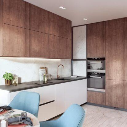 Дизайн двухэтажной квартиры дизайнерский ремонт кухни 1
