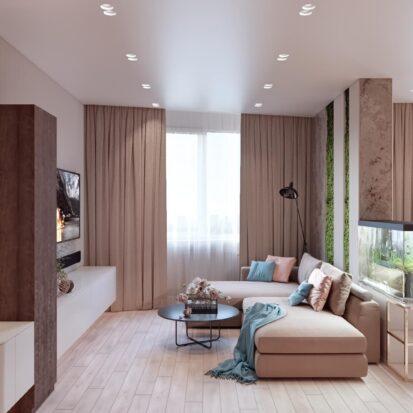 Дизайн двухэтажной квартиры интерьер гостиной 1