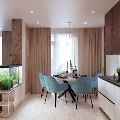 Дизайн двухэтажной квартиры интерьер кухни 1
