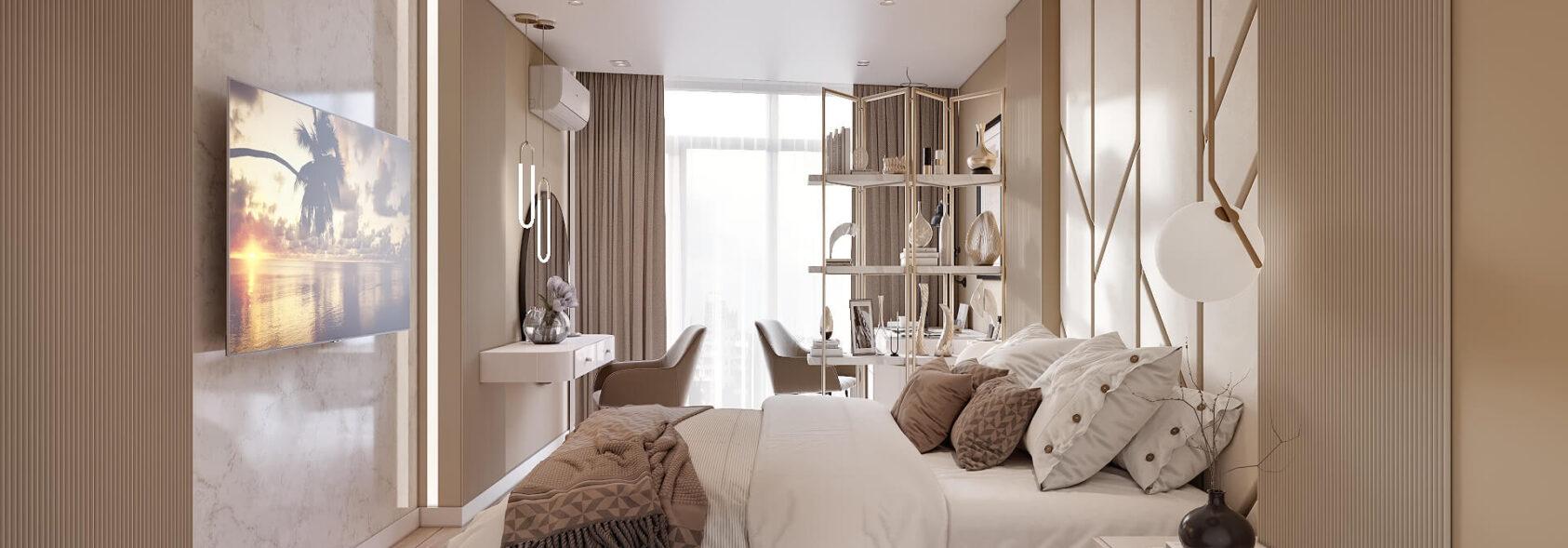 Дизайн двухэтажной квартиры интерьер спальни 1