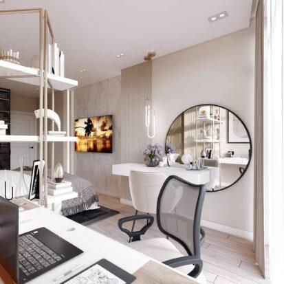Дизайн двухэтажной квартиры кабинет в спальне