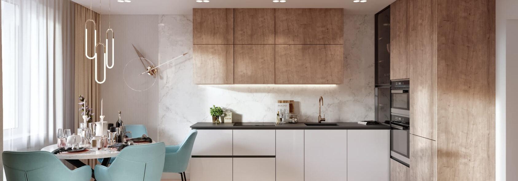 Дизайн двухэтажной квартиры кухня