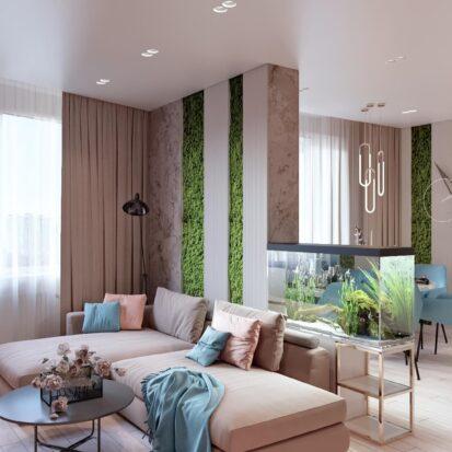 Дизайн двухэтажной квартиры проект гостиной 1