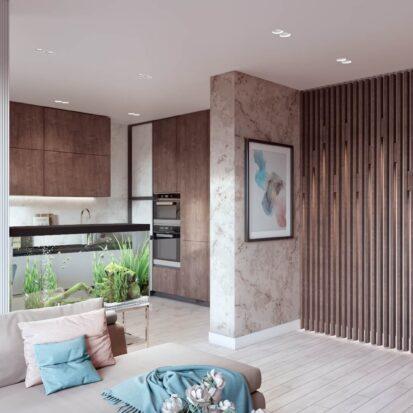Дизайн двухэтажной квартиры ремонт гостиной 1